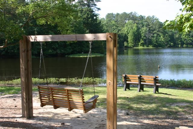 Gibson Pond Park Bench and Bench Swing